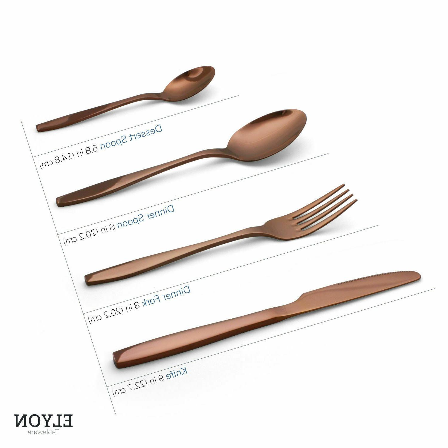4 piece flatware set copper reflective stainless