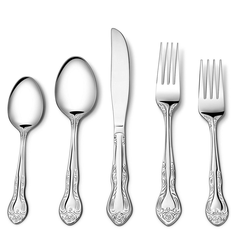 40PCS Flatware Dinnerware Cutlery Fork Spoon