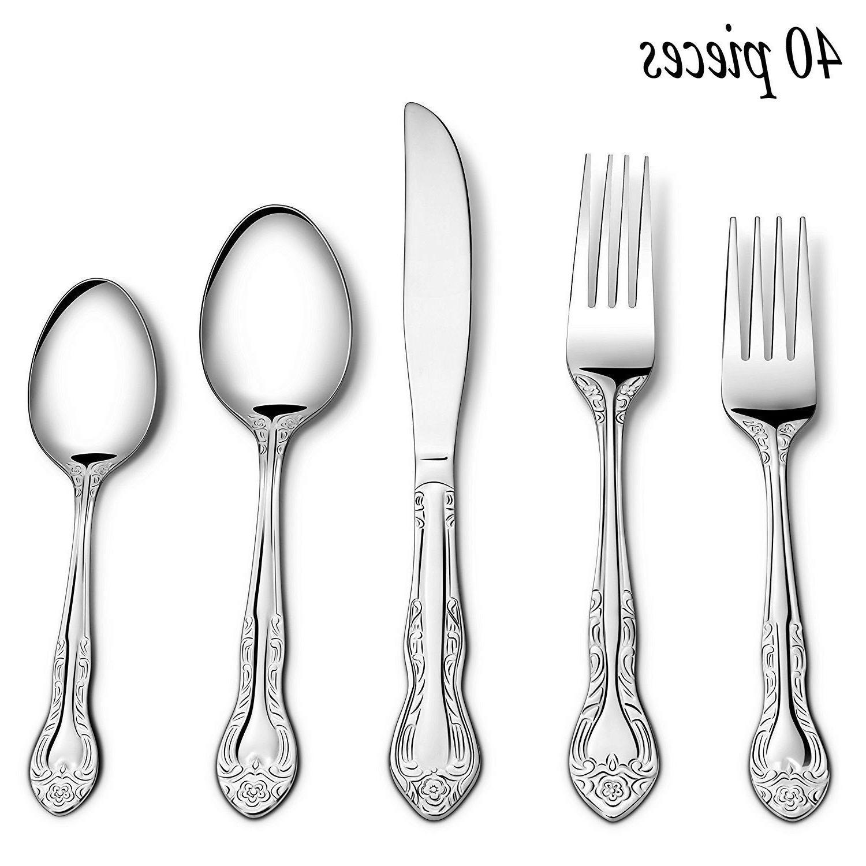 40 piece stainless steel flatware silverware cutlery