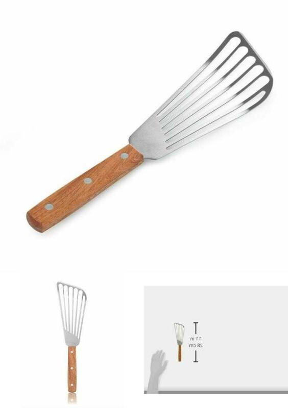 43068 wood handle fish spatula blade silver