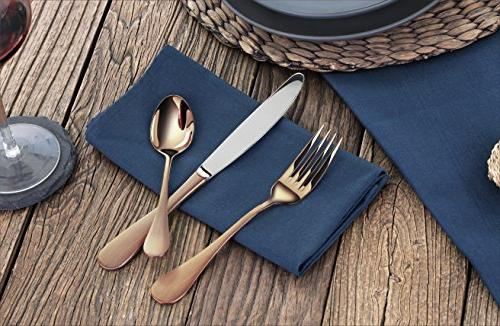 Stainless Steel Flatware Set, Copper for 12
