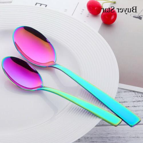 5PCS Steel Set Upscale Fork Dessert Rainbow US