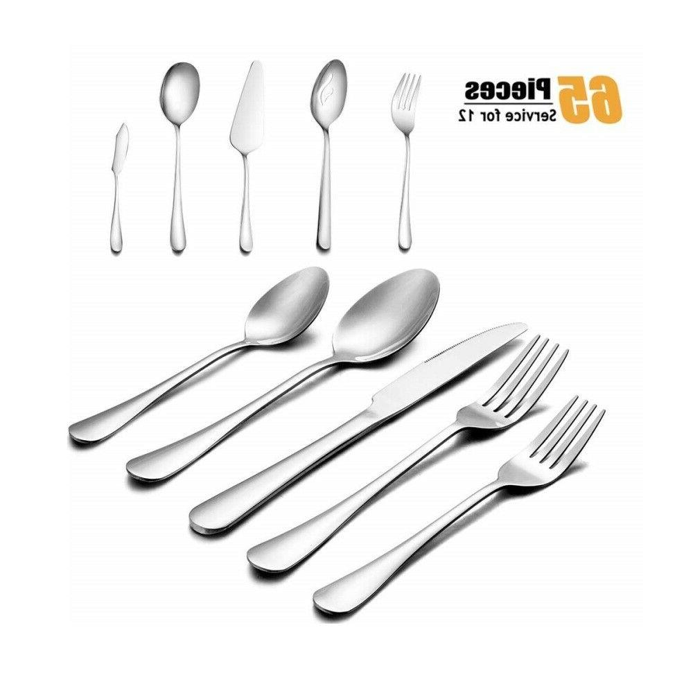 65 pcs silverware set flatware cutlery stainless