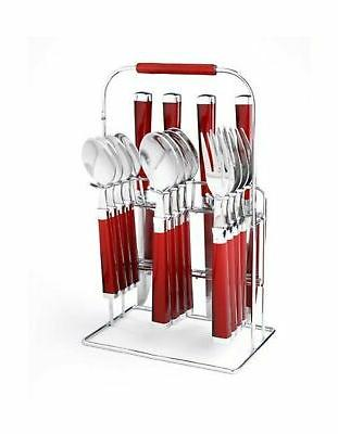 Cambridge Silversmiths Temptation Red 16-Piece Flatware Set