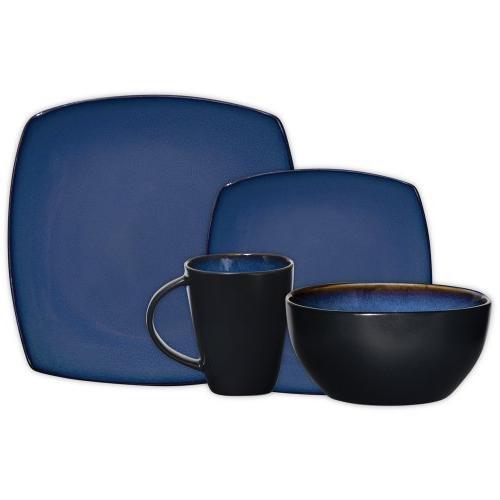 Gibson Elite 61221.16RM Lounge Reactive Glaze Dinnerware Service of 4, Stoneware, Blue