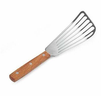 "New Star Foodservice 43068 Wood Handle Fish Spatula, 6.5"" Bl"