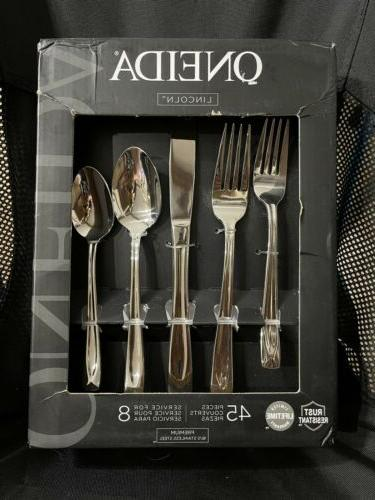 Oneida T837045A Lincoln 45-Piece Flatware Set, Service for 8