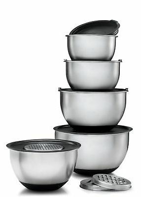 Sagler Stainless Steel Mixing Bowls Set of 5, with Lids and