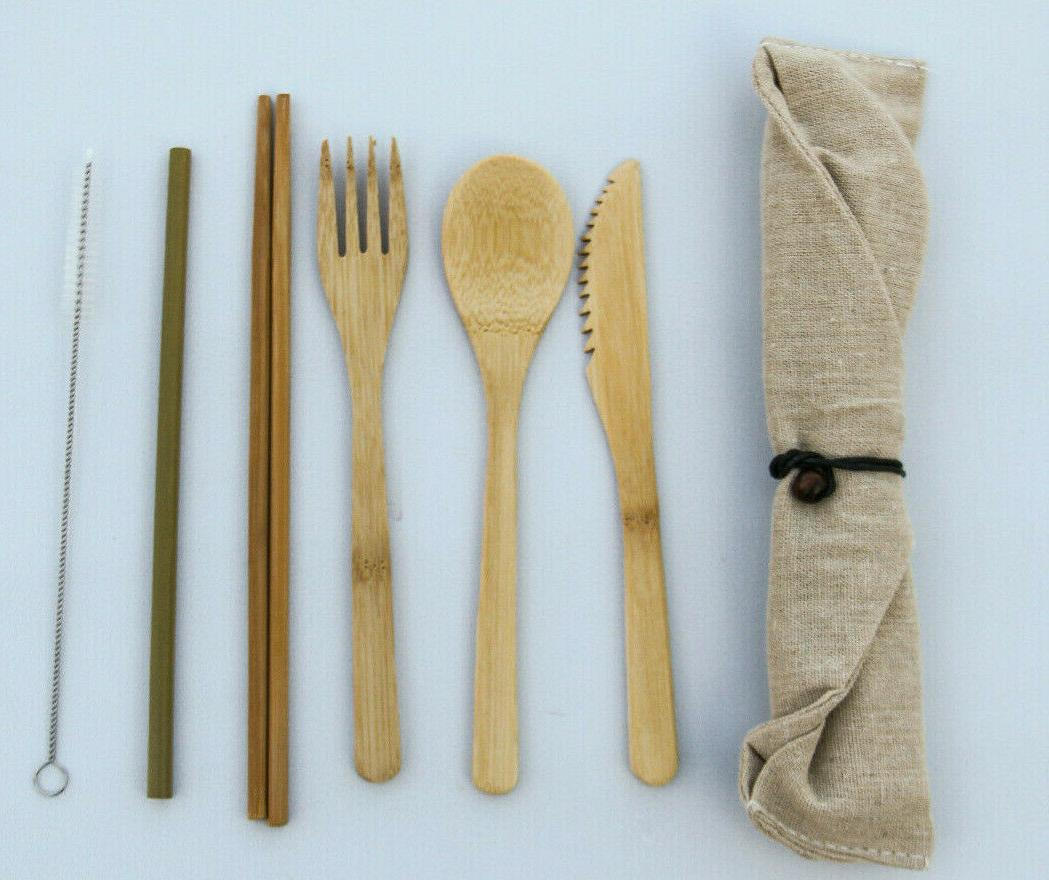 bamboo flatware set bamboo reusable utensil set