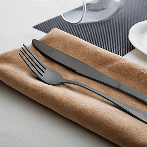 Black 20-Piece Flatware Cutlery Set for Mirror Safe,