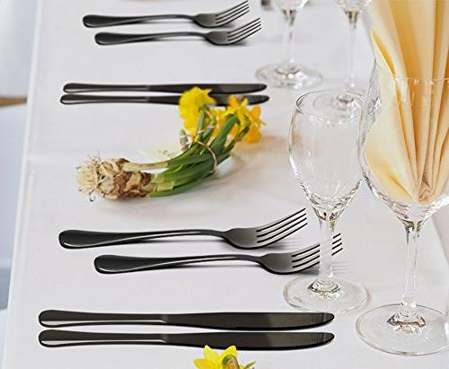 Black Silverware Set, 20-Piece Stainless Steel Cutlery Set 4, Mirror Dishwasher Nice