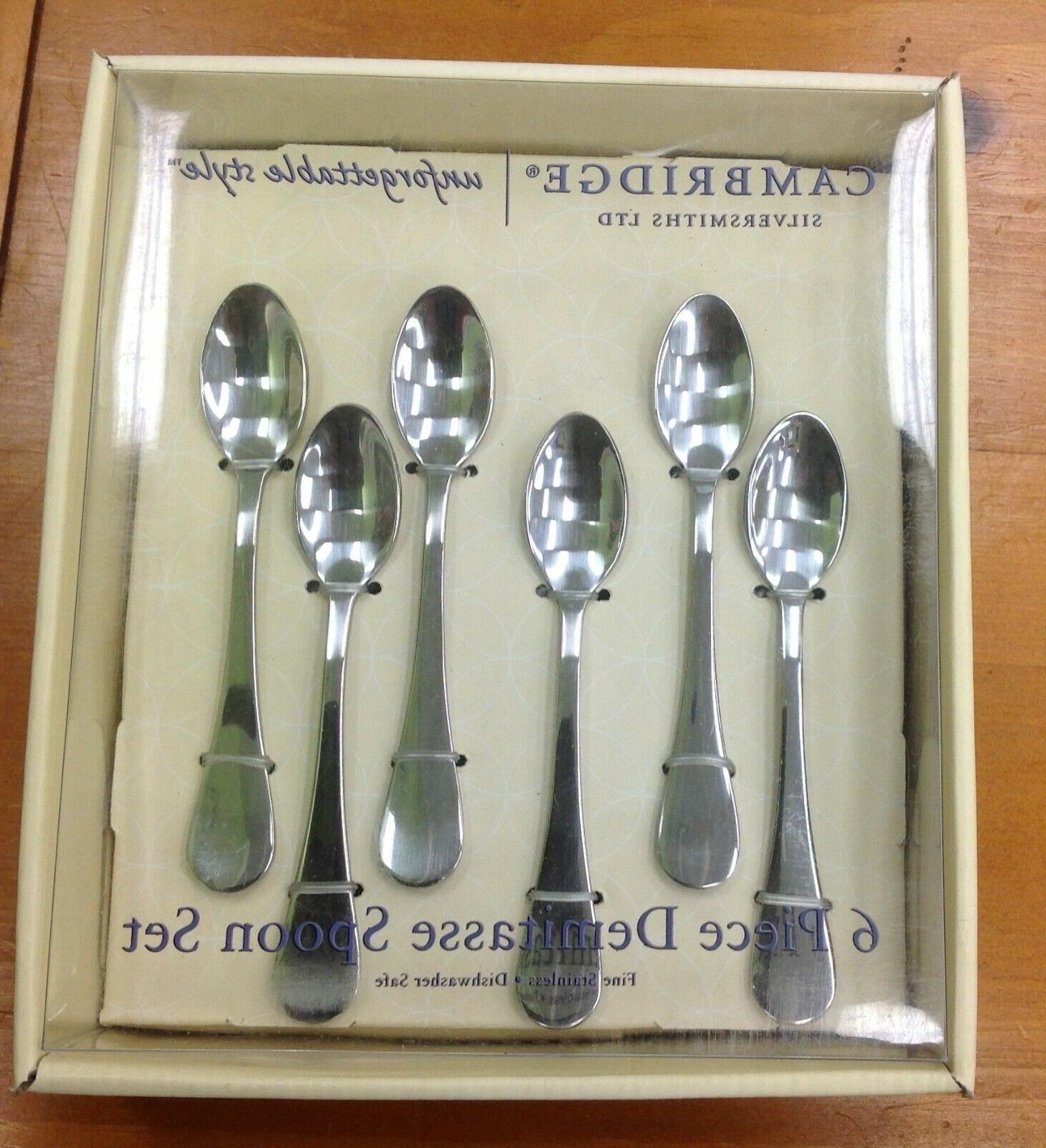 cambridge silversmiths 6 piece demitasse spoon set