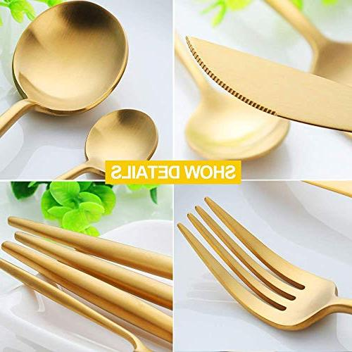 WOAIWO-Q Cutlery Stainless Steel,Flatware for Person, Tableware Gold Knife Set