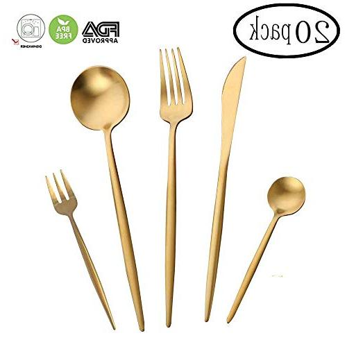WOAIWO-Q Steel,Flatware Set 4 Person, Silverware Tableware Gold Steak Knife Set