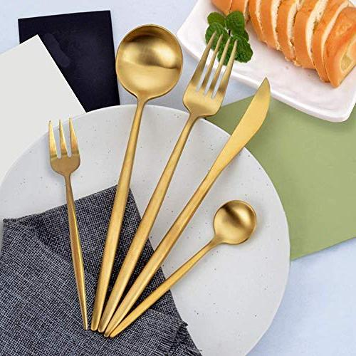 WOAIWO-Q Cutlery Set Steel,Flatware Set for 4 Person, Kitchen Tableware Dinnerware Anti-rust Rose Gold Utensil Set, Knife Set