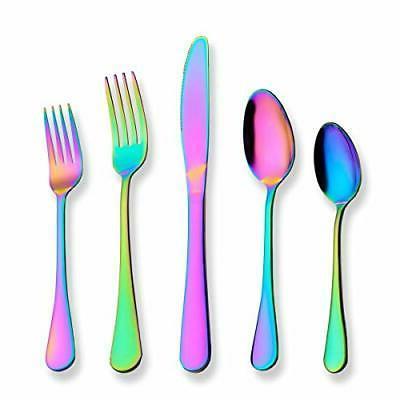 flatware set 20 piece stainless steel rainbow