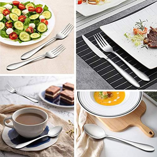 Flatware Set, Stainless Home Kitchen Hotel Restaurant Tableware Cutlery Set, for 8, Dishwasher