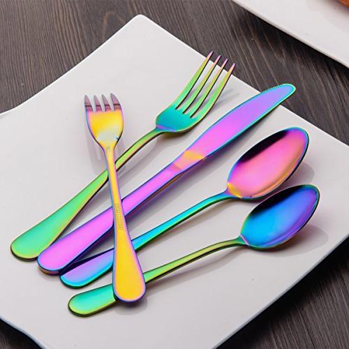 Berglander Flatware Set Piece, Stainless Titanium Colorful Multicolor Flatware Set, Color For