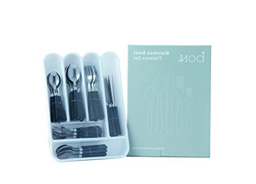 Bon Halter Steel Flatware Cutlery Set Red/Black, Include Knife/Fork/Spoon, Dishwasher for 8