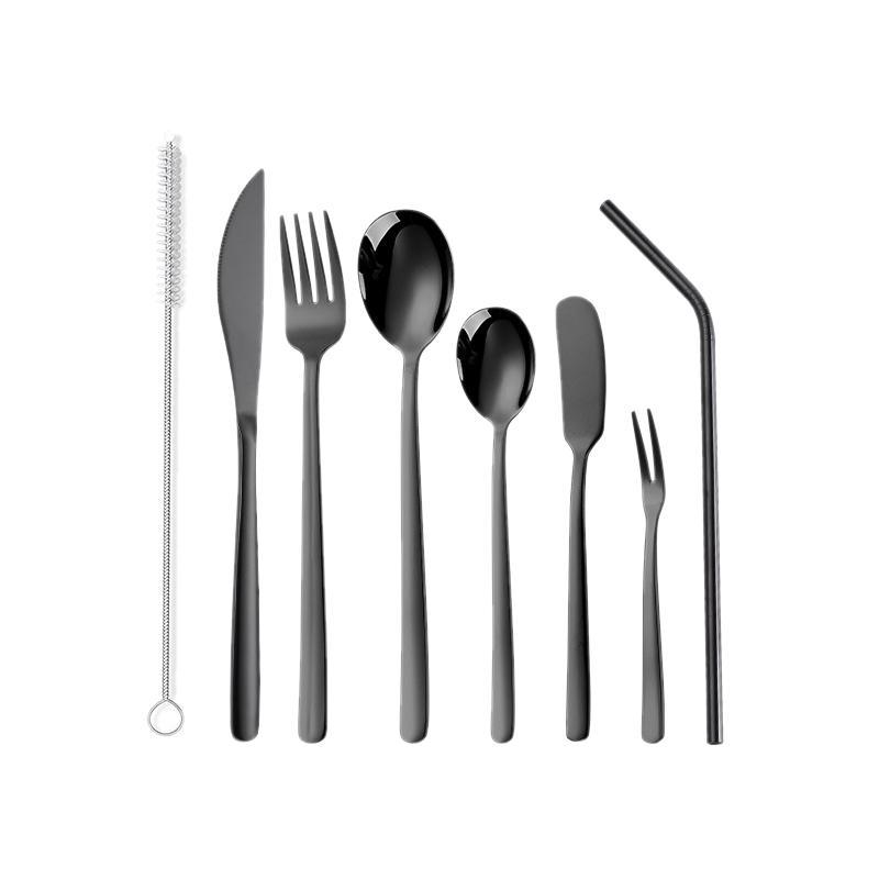 <font><b>8</b></font>-Piece Stainless Steel <font><b>Flatware</b></font> Silverware <font><b>Service</b></font> <font><b>for</b></font> 1 Outdoor Tableware Set