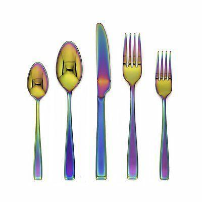 logan rainbow mirror 20 piece flatware set