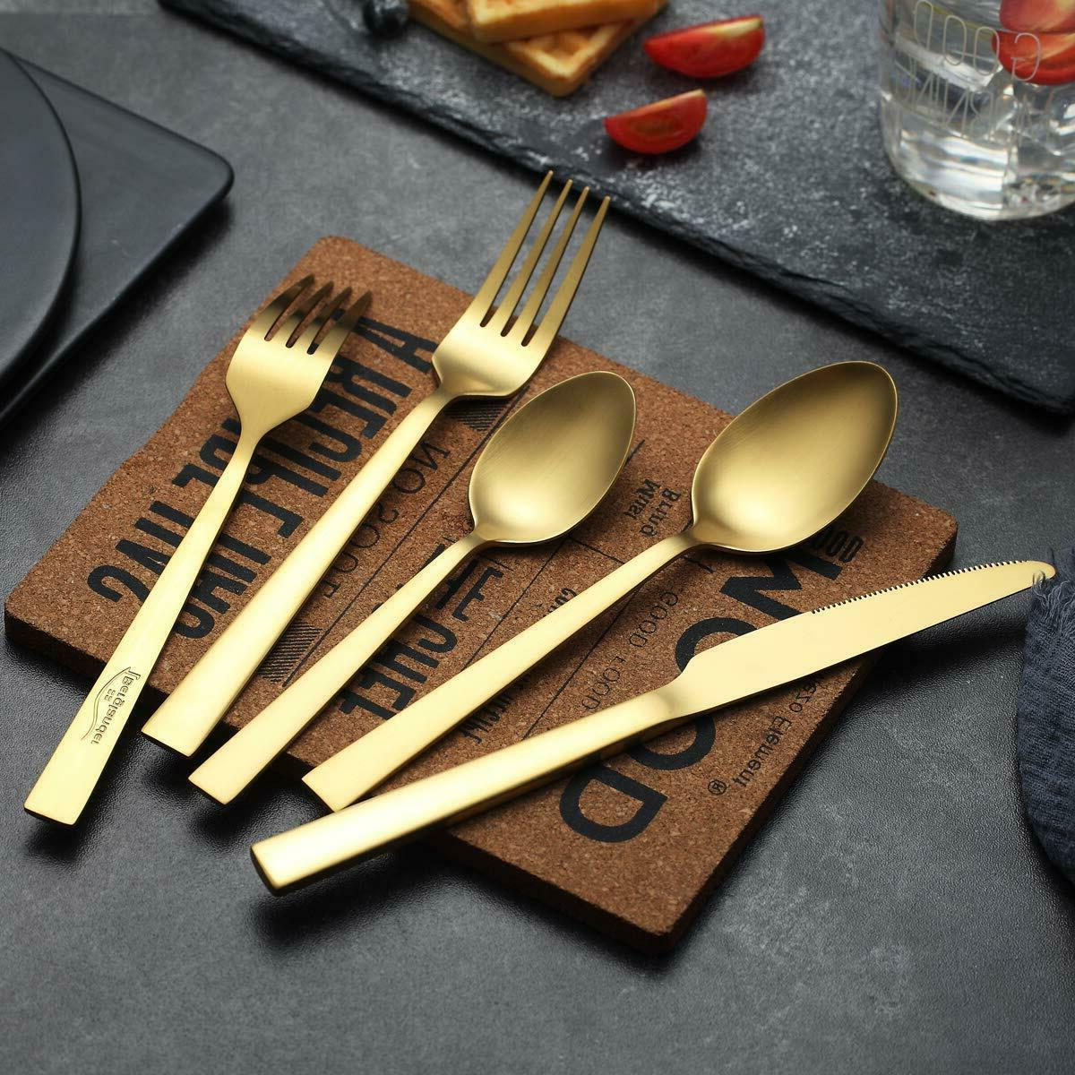 Jeaker Matte Steel Silverware Golden Flatware Set