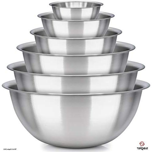Set 6 - stainless - Polished Mirror kitchen bowls Set ¾, 2, Ideal For Cooking & Serving - Easy clean -
