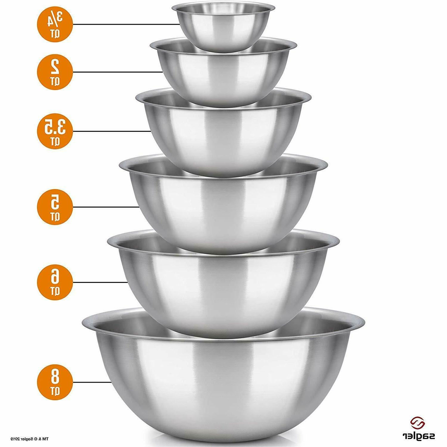 Mixing Bowls Stainless Bakeware Polished & Set of 6
