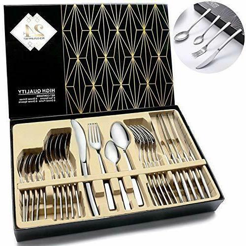 Modern Flatware Set Kitchen Silverware Large Cutlery Stainle