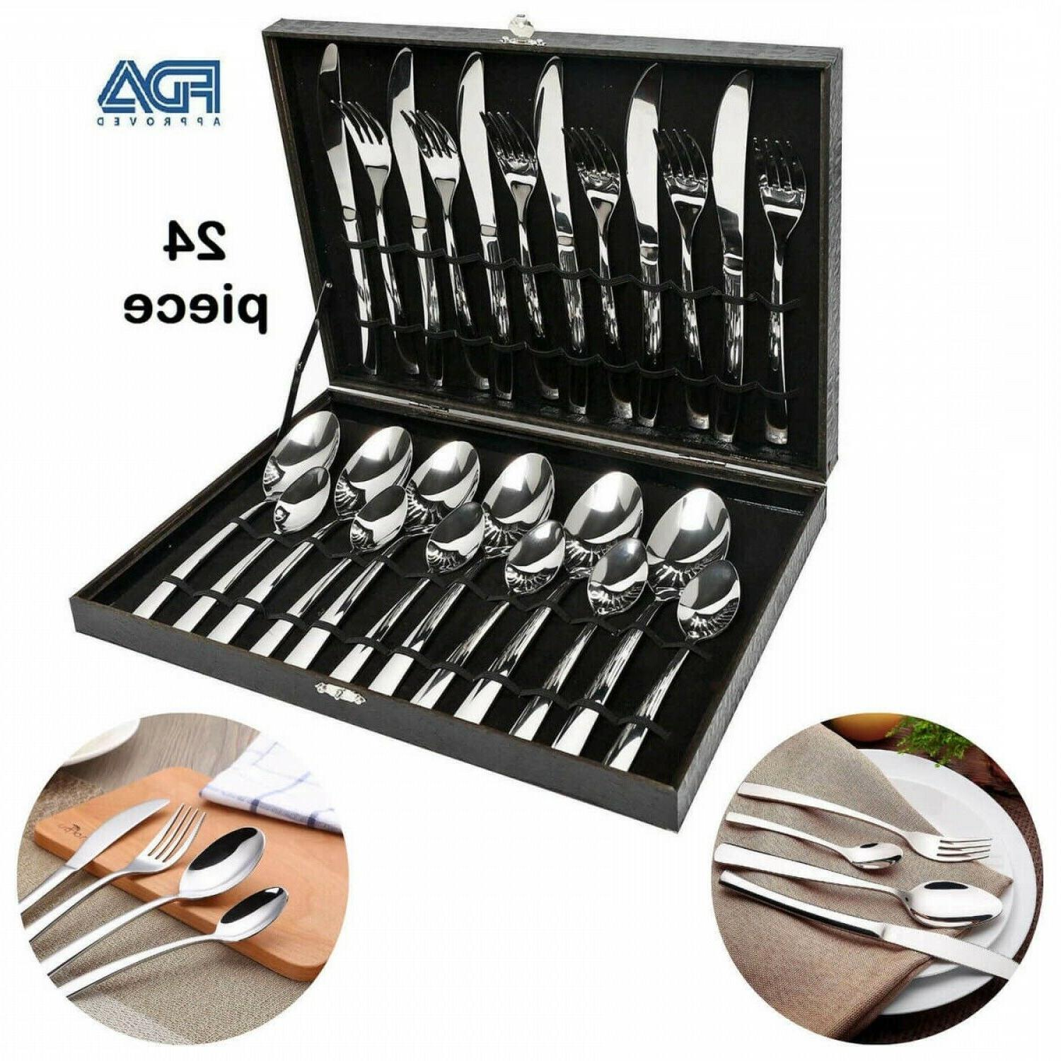 Modern Silverware Large Steel 24 Piece