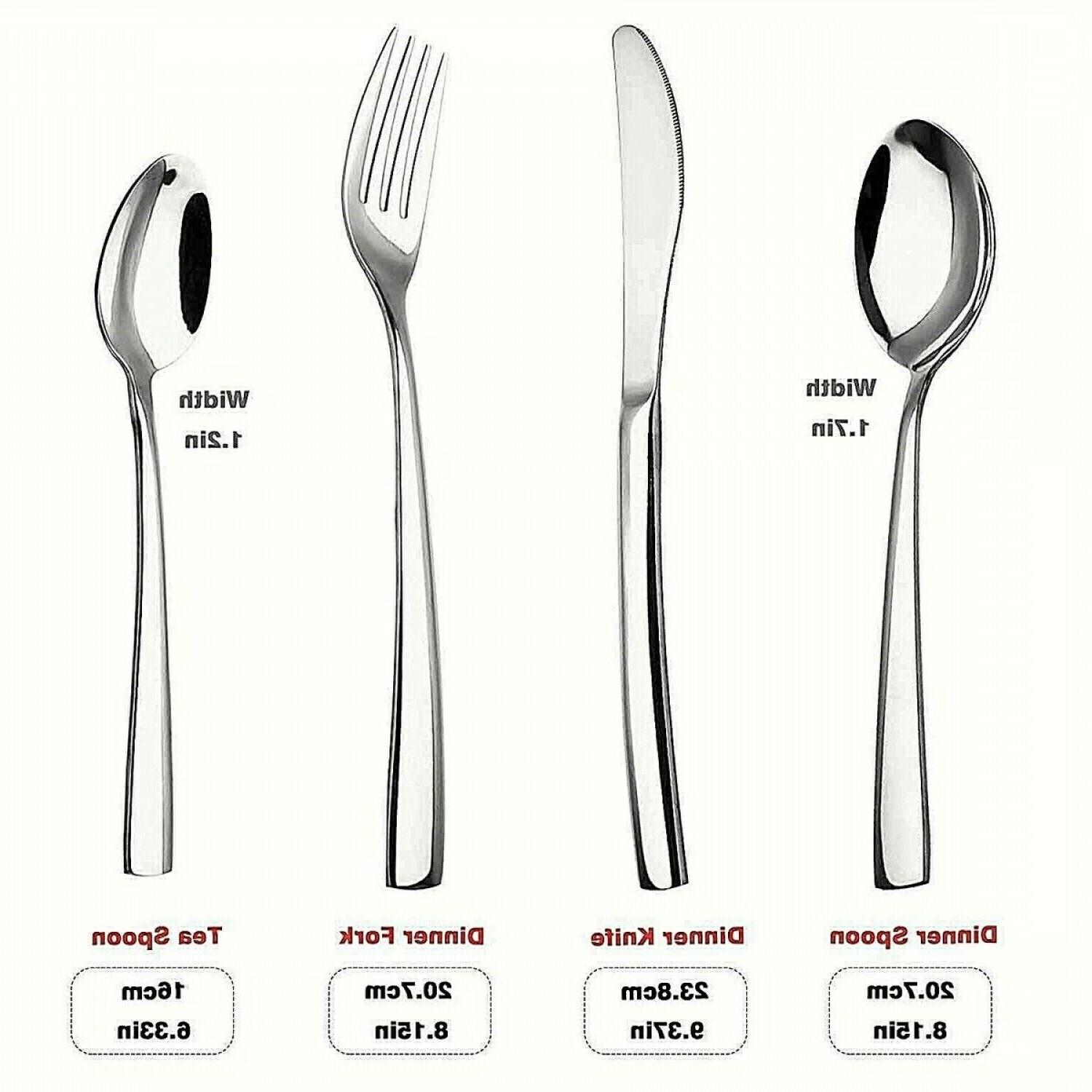 Modern Flatware Set Silverware Large Cutlery Kitchen Steel 24
