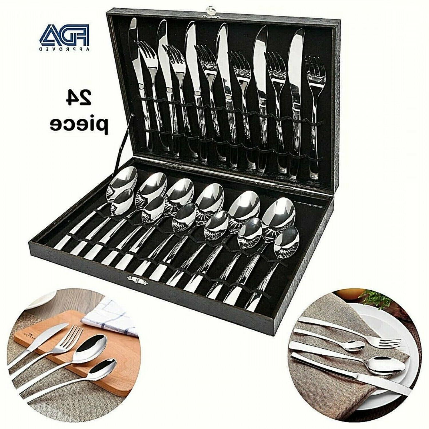 modern flatware set silverware large cutlery kitchen