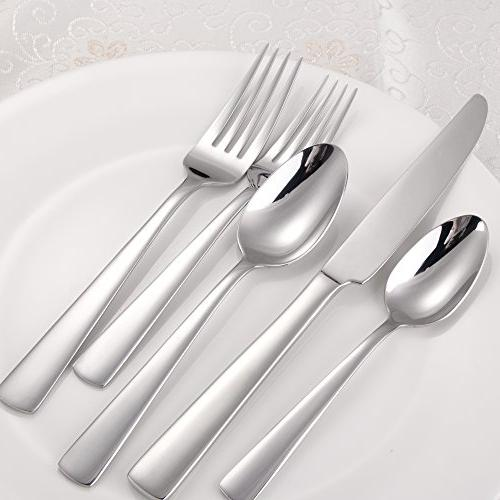 Brightown 45-Piece Silverware Cutlery Design and Durable Stainless Service for Dishwasher Safe