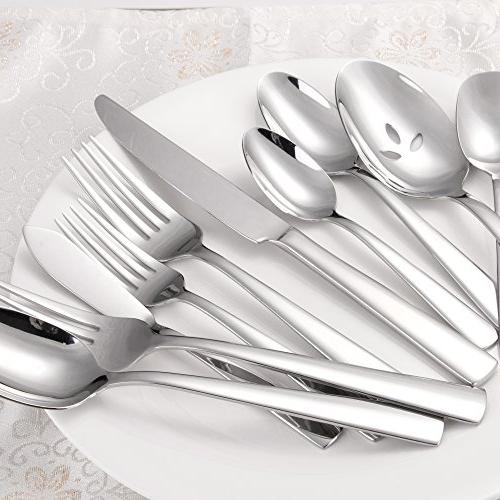 Brightown Cutlery Set Ergonomic Design Size Weight, Durable Stainless Service 8, Safe