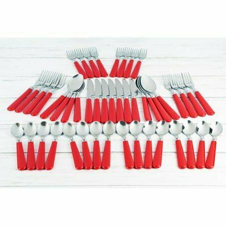 New Red Steel Flatware Set Fork Butter Kit
