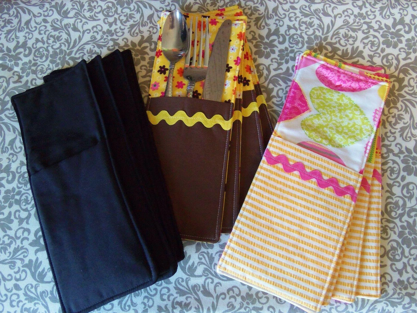 Set of 4 Fabric Flatware Pockets, Pockets, Dining,4x10""