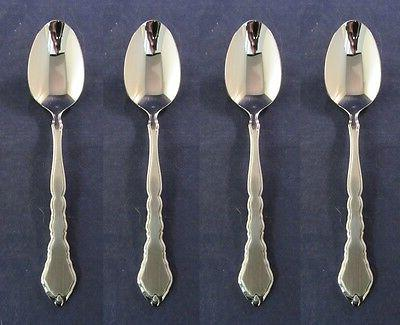 set of four stainless flatware satinique teaspoons