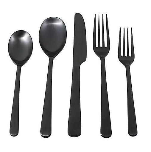 silversmith julie black satin 5 piece stainless
