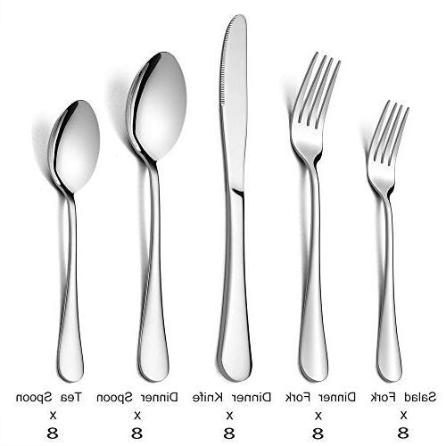 Silverware Flatware Set, E-far Stainless Steel Eating 8, Dinner & Polished &