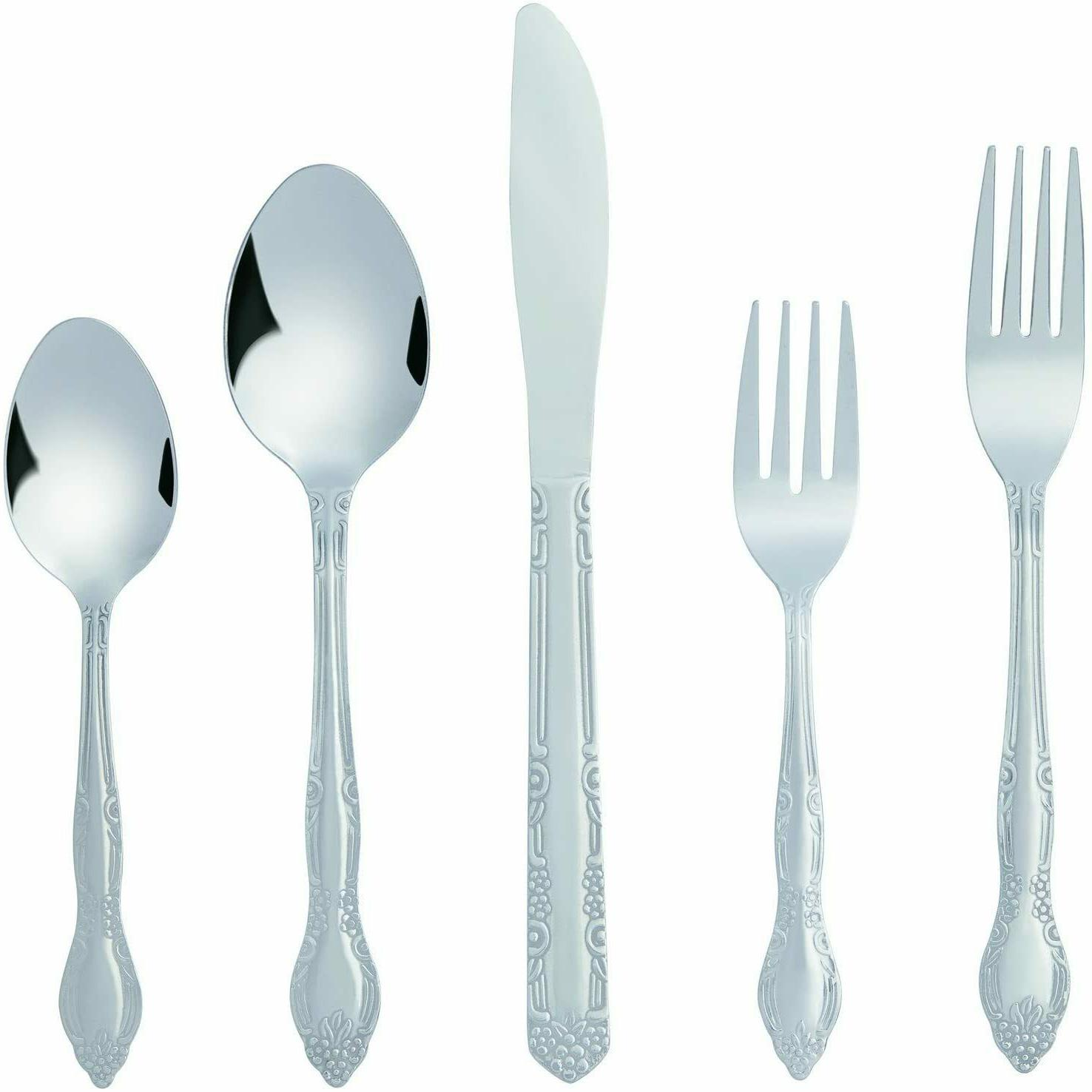 20 piece Silverware Flatware Cutlery Sets for 4 Stainless St
