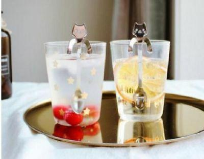 Small Mini Stainless Steel Cat Kitty Coffee Stirring Spoon Dessert