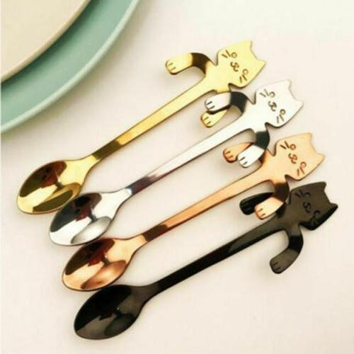 Small Mini Steel Cat Stirring Spoon Colorful