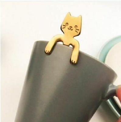 Small Stainless Steel Cat Kitty Stirring Spoon Colorful