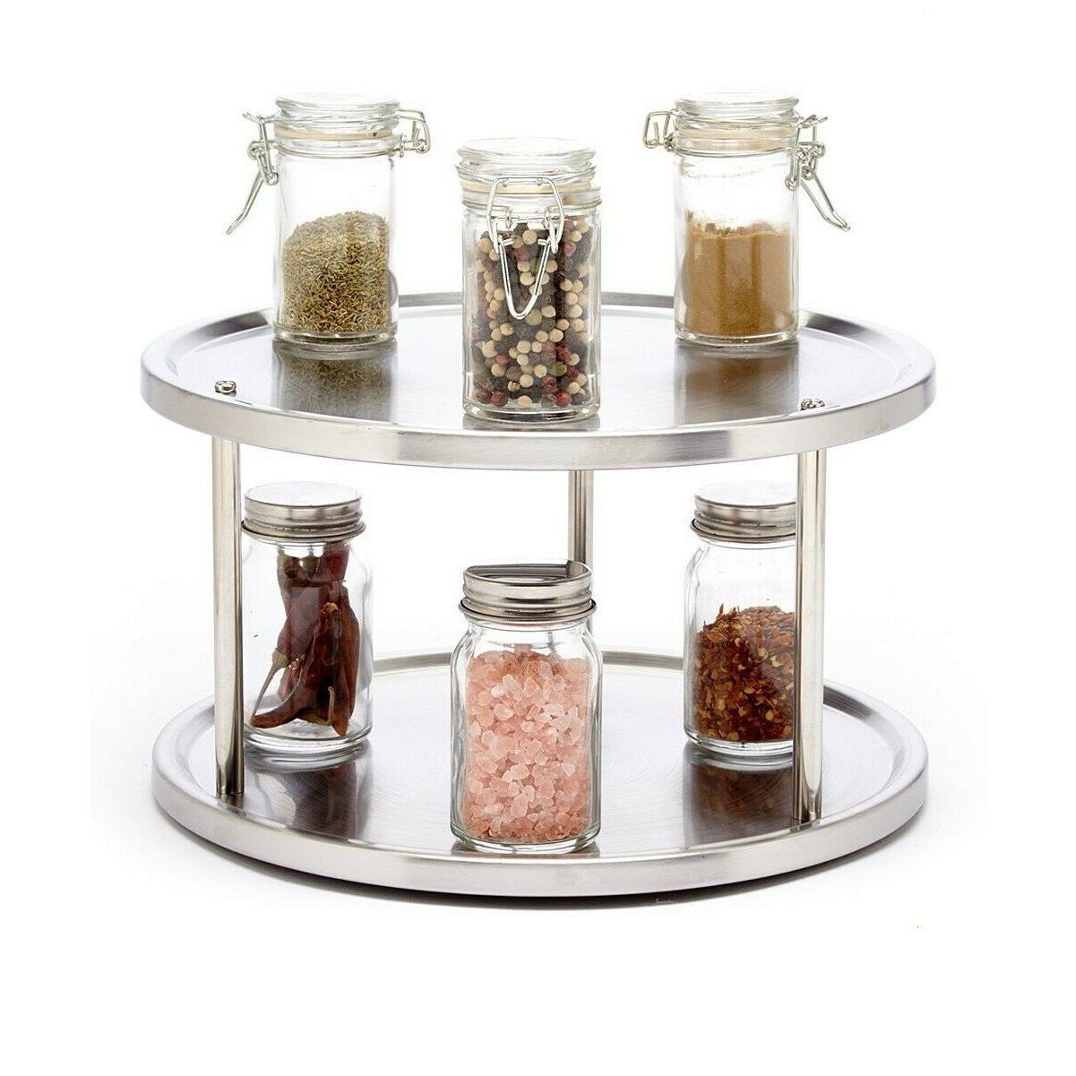 Spice Turntable Rack Kitchen Organizer Storage Round 2 Tier