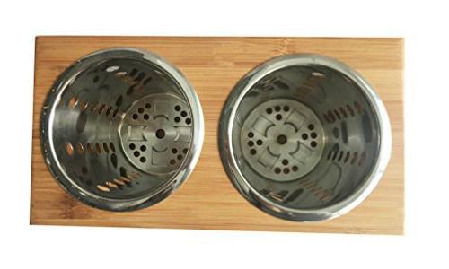 Stainless Utensil Kitchen Cooking Holders With Wooden Holder Stand︳ Cutlery your Flatware for Kitchen, Picnic