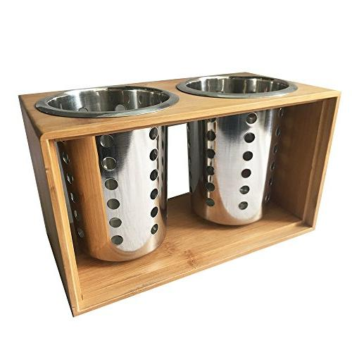 Stainless Steel Kitchen Cooking With Wooden Stand︳ Cutlery Holder your Flatware & for Kitchen, Dining, Picnic
