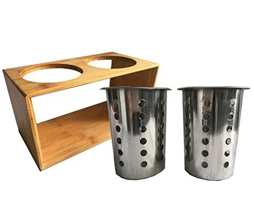 Stainless Steel Utensil Kitchen With Stand︳ Cutlery Caddy ︳Organise your Flatware & Silverware︳Ideal for Dining, Picnic