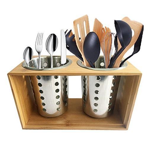stainless steel utensil holder kitchen