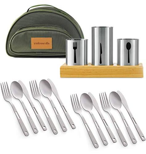 Utensil Caddy Cutlery Stainless Steel Flatware Wood Organizer Carry Knives Entertaining