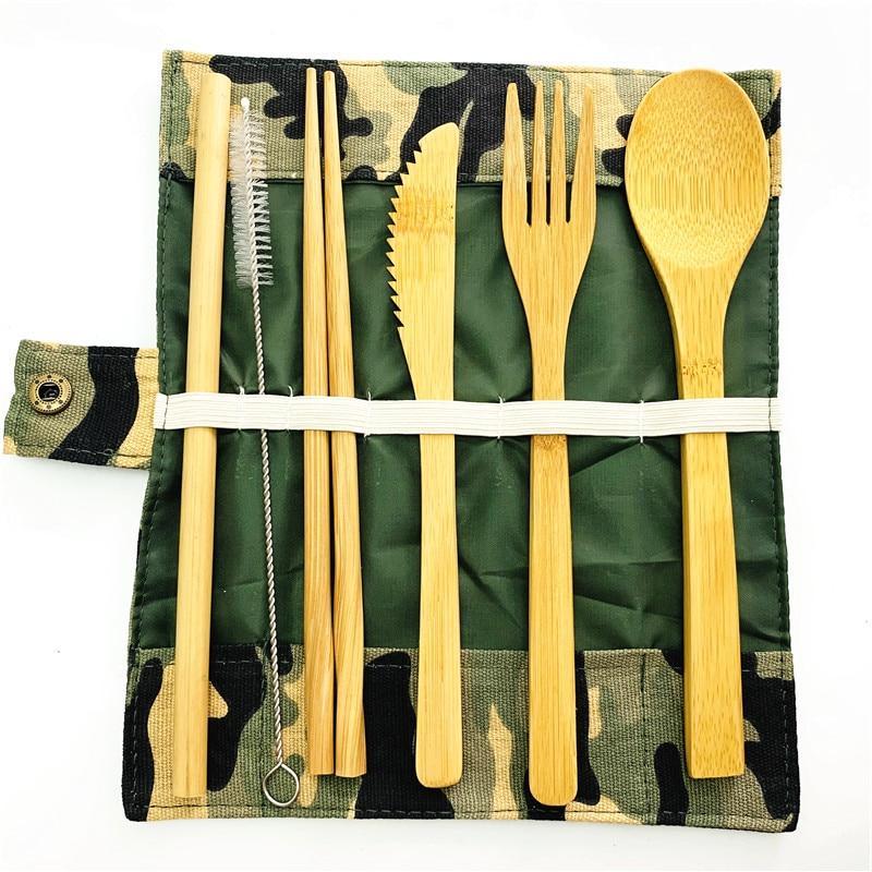 Wooden bamboo Cutlery Set With Pouch Utensils Zero Knife <font><b>Flatware</b></font>